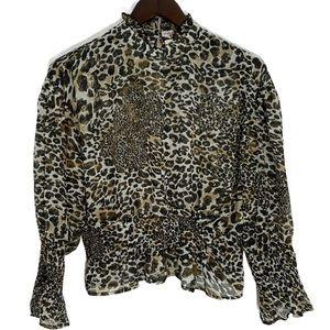 Live 4 Truth🤎Chiffon Cheetah Print Blouse Size M
